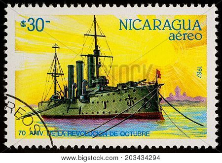 Moscow Russia - September 09 2017: A stamp printed in Nicaragua shows cruiser Aurora series