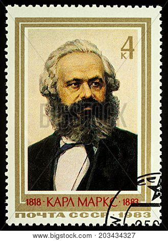 Moscow Russia - September 09 2017: A stamp printed in USSR (Russia) shows portrait of Karl Heinrich Marx (1818-1883) German philosopher founder of the theory of communism and socialism circa 1983