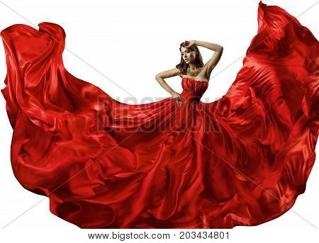 Dancing Woman in Red Dress Fashion Model Dance in Silk Ball Gown Waving Flowing Fabric