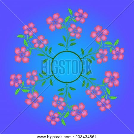 Embroidered pink flowers on blue background. Vector illustration.