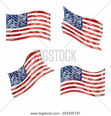 Fresh USA national symbols with flattering effect on white background