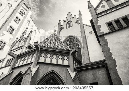 Maisel synagogue in Prague Czech Republic. Architectural theme. Religious architecture. Travel destination. Black and white photo.
