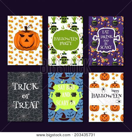 Halloween magic trick or treat party cards pumpkin ghost holiday brochure vector illustration. Cartoon spooky halloween celebration night scary fear witch october. Traditional evil party.