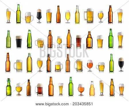 Set of various beer bottles and glasses. Isolated on white background