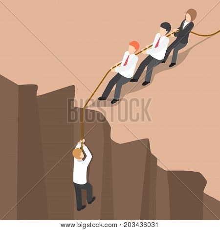 Isometric Business Team Help Partner Climb Up From The Cliff.