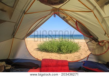Travel Tent With Sea And Sand View