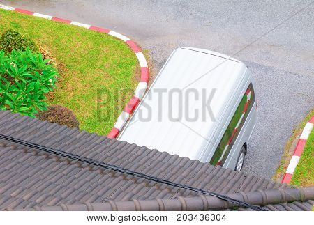 car parking top view with copy space add text