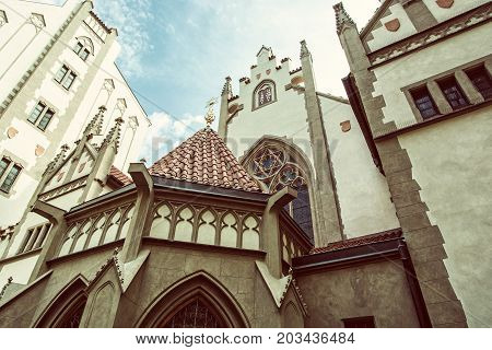 Maisel synagogue in Prague Czech Republic. Architectural theme. Religious architecture. Travel destination. Retro photo filter.