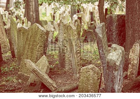 Jewish cemetery in Prague Czech republic. Memorial place. Many graves. Historical object. Yellow photo filter.