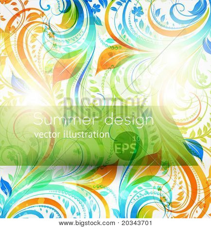 Floral summer design elements with sun shine. Vector Flower abstract bright background for vintage design. eps 10.