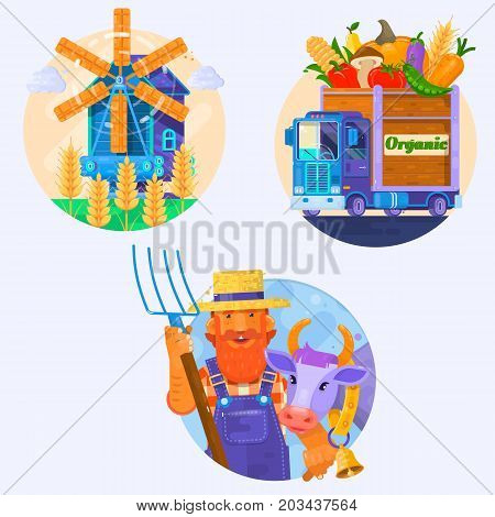 Organic food icons. Rural summer landscape with windmill. Farmer w with smiling cow.The car with vegetables. Flat vector illustration