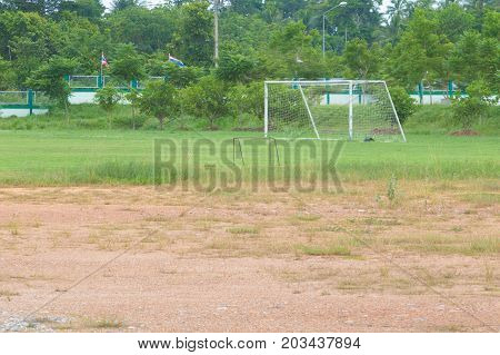 football field poor in countryside with copy space add text
