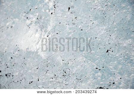 ice mixed with volcanic ash in iceland