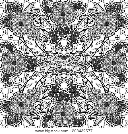 Black lace seamless pattern of flowers and leaves. Vector illustration.