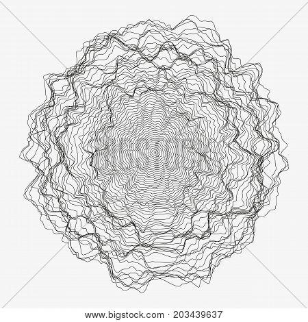 Abstract monochrome vector background illustration. Round random decorative composition. Rippled wavy circle. Minimalist generative linear shape. Modern element of design.