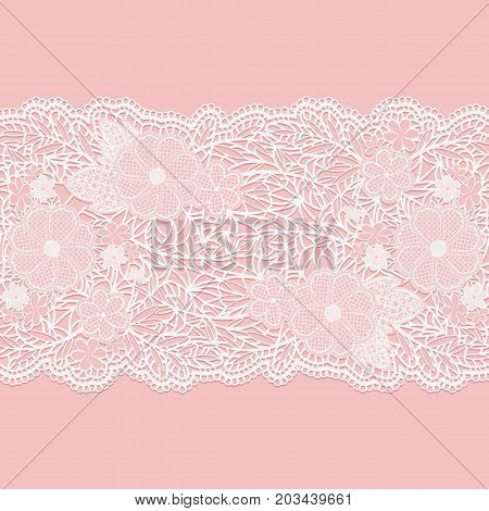 Lacy white seamless pattern of flower ribbon on a pink background. Vector illustration.