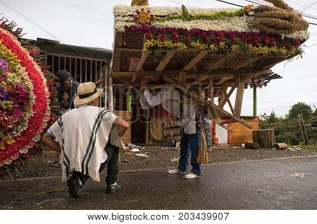 August 7 2017 Medellin Colombia: a farmer lifts a gigantic flower display on his back during the flower festival preparation
