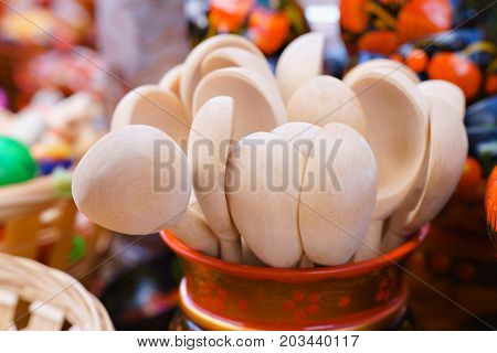 Russian wooden spoons in a glass are many clean