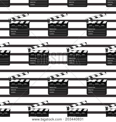 Black clap open black object element for movie making vector illustration Flat in style. Pattern Symbol Icon on films for your projects.