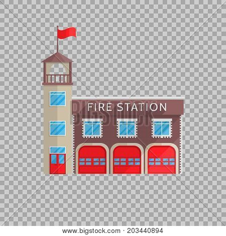 Fire station building in flat style on a transparent background Vector illustration. Service to combat emergencies, fire safety, the symbol for your projects.