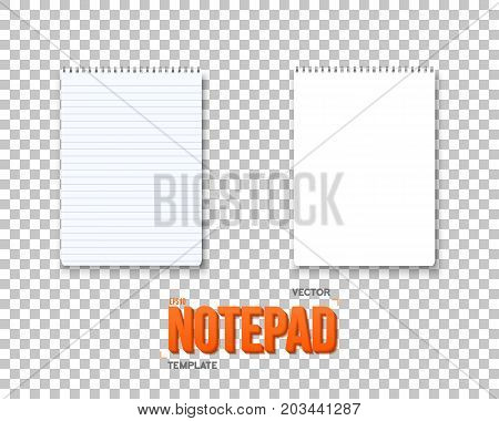 Illustration of Vector Notepad Set. Realistic Vector Empty Notepad Mockup