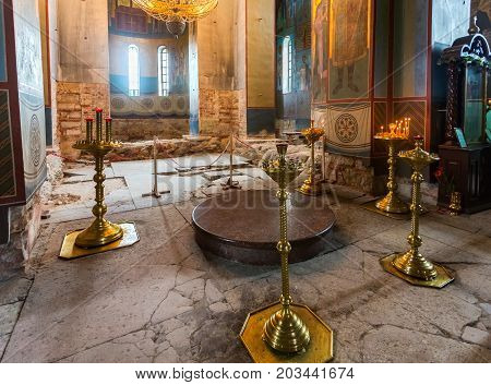 Veliky Novgorod Russia - August 17 2017: Interior of the Russian orthodox St. George Cathedral in the Yuriev Monastery in the neighborhood Veliky Novgorod Russia 1119 year