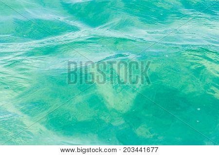 Green Blue Water At The Laguna Bacalar, Chetumal, Quintana Roo, Mexico.