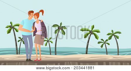 Young couple in love. Man and woman on a romantic date on a tropical beach with palm trees. A man hugs a woman. Vector illustration.