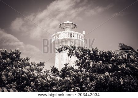 Black and white picture lighthouse in Puerto Morelos Quintana Roo Mexico.