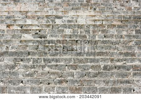 Detail of a dry stone wall at Chichen Itza Yucatan Mexico