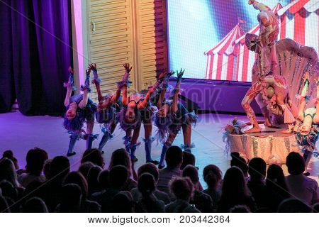 Yalta, Crimea - 11 July, Dance group on stage, 11 July, 2017. Performance of young artists on the stage of the hotel Yalta Intourist .