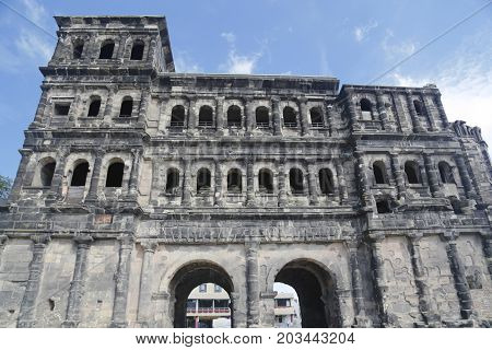 View of the porta nigra black gate large roman city gate in Trier