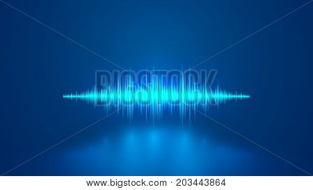 Equalizer blue sound wave. Voice recognition. VECTOR.
