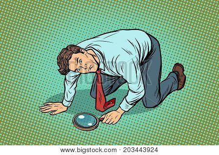 Businessman investigator looking with magnifying glass. Detective, crime scene. pop art retro vector illustration