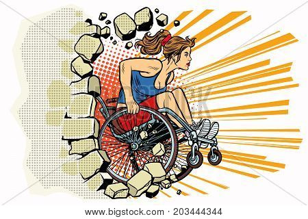 Caucasian woman athlete in a wheelchair punches the wall. person in sports. Barrier-free environment for disabled. pop art retro vector illustration