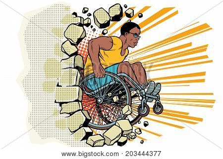 Black male athlete in a wheelchair punches the wall. African American person in sports. Barrier-free environment for disabled. pop art retro vector illustration