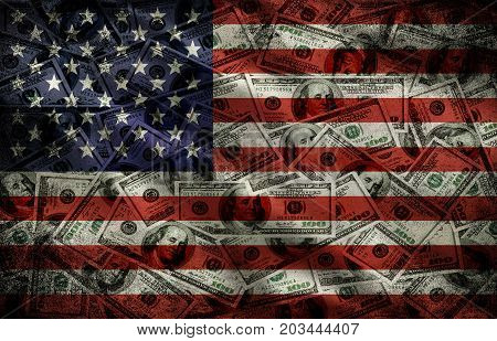 Illustration of many US 100 dollars USA flag business background