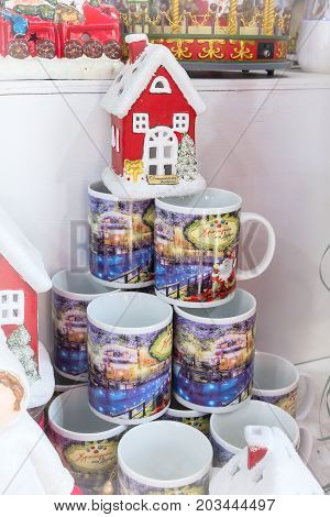 Greece, Drama - December 14, 2016: Greek European Christmas market stall with different gifts