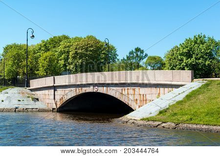 Western Artillery Bridge on the Kruverk channel in St. Petersburg, Russia