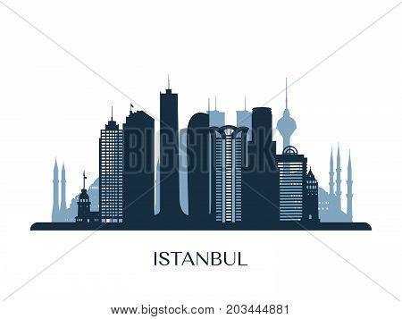 Istanbul skyline monochrome silhouette. Design vector illustration.