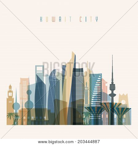 Kuwait city skyline detailed silhouette. Transparent style. Trendy vector illustration.