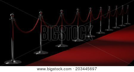 Silver rope barriers and Red carpet isolated on black background