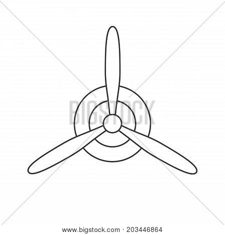 Black isolated outline icon of propeller on white background. Line Icon of propeller of airplane
