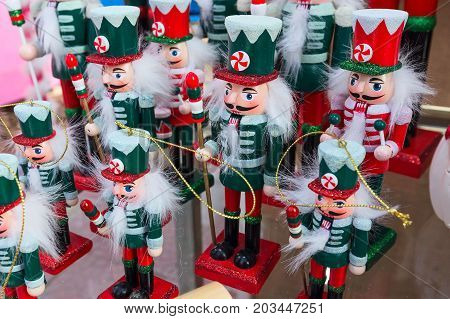 Traditional Christmas holiday nutcrackers figurines at traditional christmas market