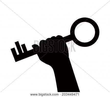 black silhouette of a hand holding a big key on a white background