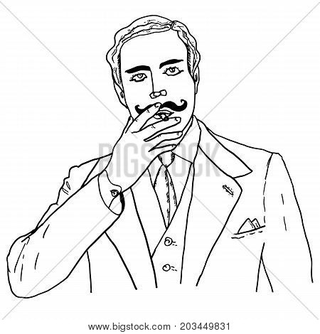 Man with cigarette. Fashionable gentleman in victorian style, 19th century, early 20th century. Shirt, waistcoat, tie, jacket. Smoking man. Mustache, wavy hair, dandy. Sketch for design, advertising.