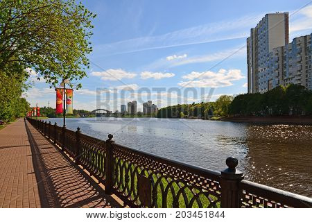 Khimki, Russia - May 30.2017 View of a Moscow Canal and the Eco Shore Park