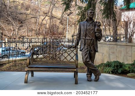 KISLOVODSK, RUSSIA - MAY, 2017: Monument to the Russian opera singer Feodor Chaliapin
