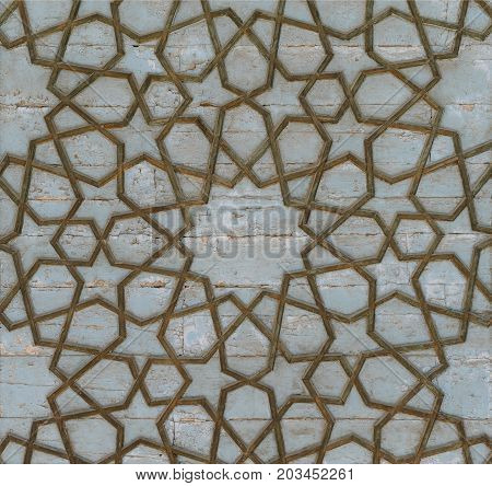 asian old ceramic mosaic. elements of oriental ornament on ceramic tiles