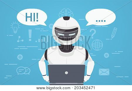 Robot uses laptop computer. Concept of chat bot a virtual online assistant.
